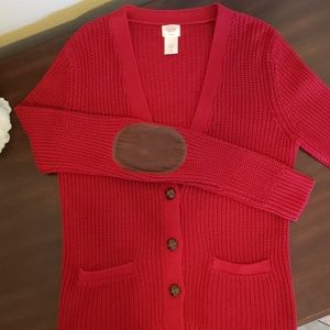 Red cotton knit cardigan sweater